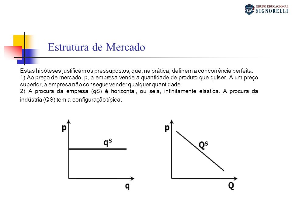 Estrutura de Mercado Estas hipóteses justificam os pressupostos, que, na prática, definem a concorrência perfeita.