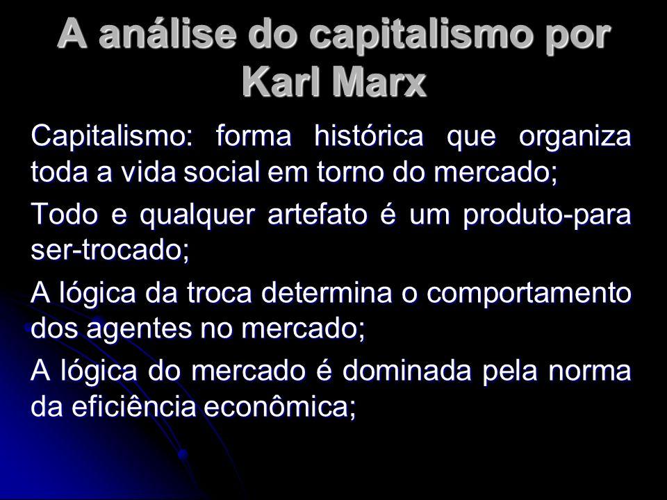 A análise do capitalismo por Karl Marx Capitalismo: forma histórica que organiza toda a vida social em torno do mercado; Todo e qualquer artefato é um produto-para ser-trocado; A lógica da troca determina o comportamento dos agentes no mercado; A lógica do mercado é dominada pela norma da eficiência econômica;
