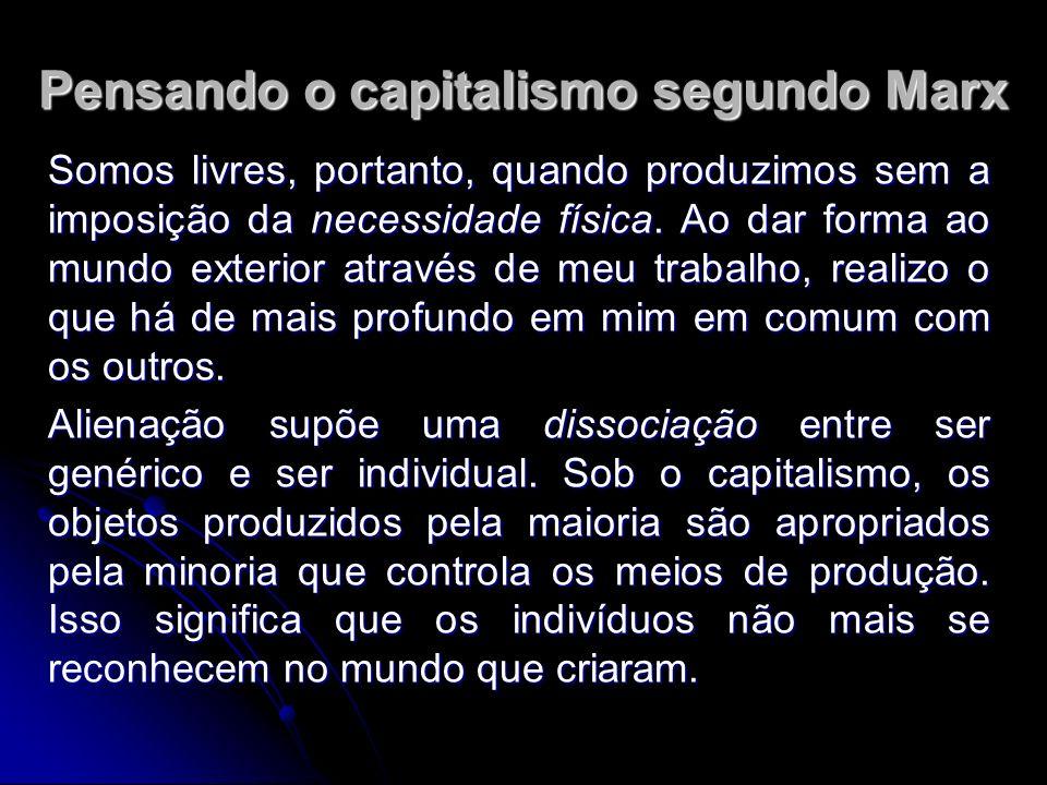 Pensando o capitalismo segundo Marx Somos livres, portanto, quando produzimos sem a imposição da necessidade física.