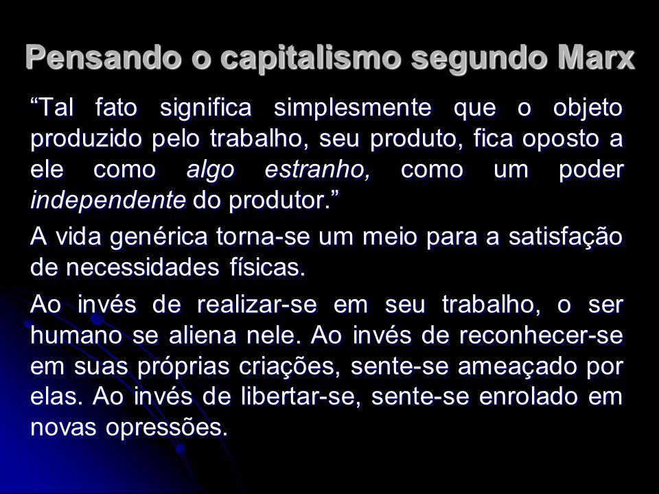 Pensando o capitalismo segundo Marx Tal fato significa simplesmente que o objeto produzido pelo trabalho, seu produto, fica oposto a ele como algo estranho, como um poder independente do produtor.