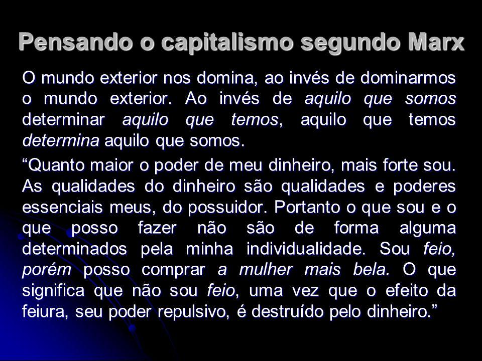 Pensando o capitalismo segundo Marx O mundo exterior nos domina, ao invés de dominarmos o mundo exterior.