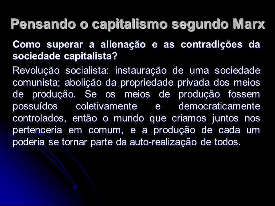 Pensando o capitalismo segundo Marx Como superar a alienação e as contradições da sociedade capitalista.