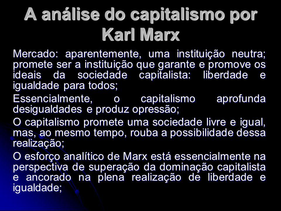 A análise do capitalismo por Karl Marx Mercado: aparentemente, uma instituição neutra; promete ser a instituição que garante e promove os ideais da sociedade capitalista: liberdade e igualdade para todos; Essencialmente, o capitalismo aprofunda desigualdades e produz opressão; O capitalismo promete uma sociedade livre e igual, mas, ao mesmo tempo, rouba a possibilidade dessa realização; O esforço analítico de Marx está essencialmente na perspectiva de superação da dominação capitalista e ancorado na plena realização de liberdade e igualdade;
