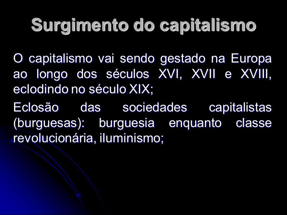 Surgimento do capitalismo O capitalismo vai sendo gestado na Europa ao longo dos séculos XVI, XVII e XVIII, eclodindo no século XIX; Eclosão das sociedades capitalistas (burguesas): burguesia enquanto classe revolucionária, iluminismo;