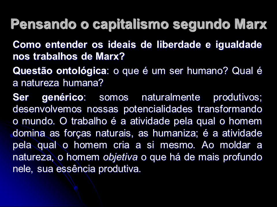 Pensando o capitalismo segundo Marx Como entender os ideais de liberdade e igualdade nos trabalhos de Marx.