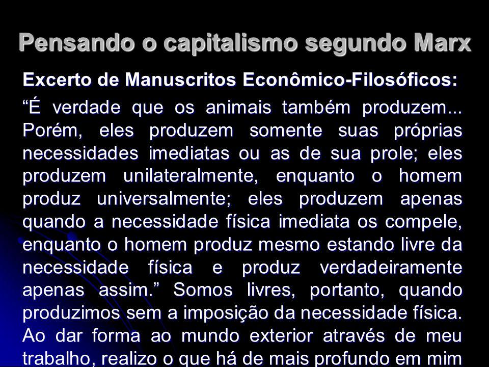 Pensando o capitalismo segundo Marx Excerto de Manuscritos Econômico-Filosóficos: É verdade que os animais também produzem...