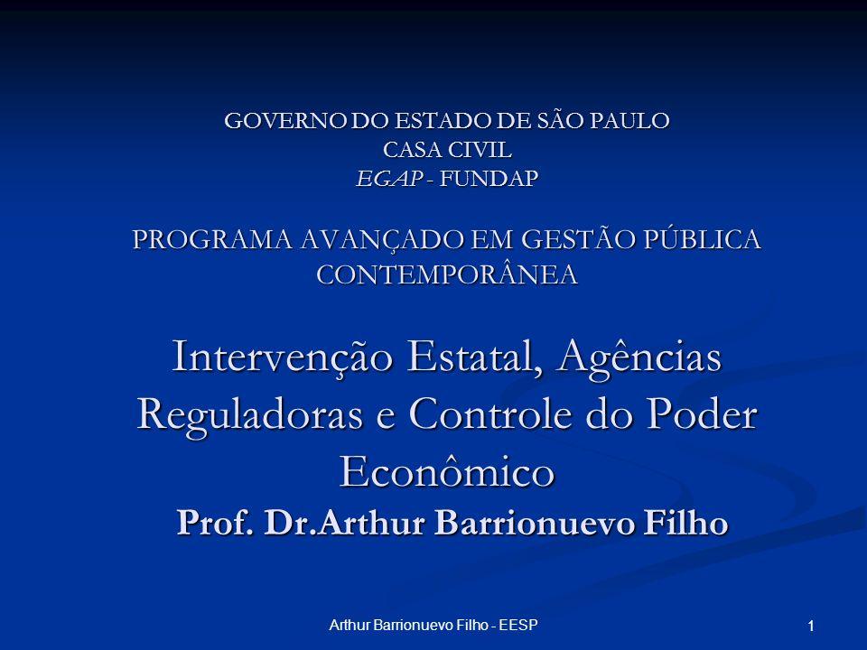 Arthur Barrionuevo Filho - EESP 2 Intervenção Estatal, Agências Reguladoras e Controle do Poder Econômico Arthur Barrionuevo Filho FGV-EESP
