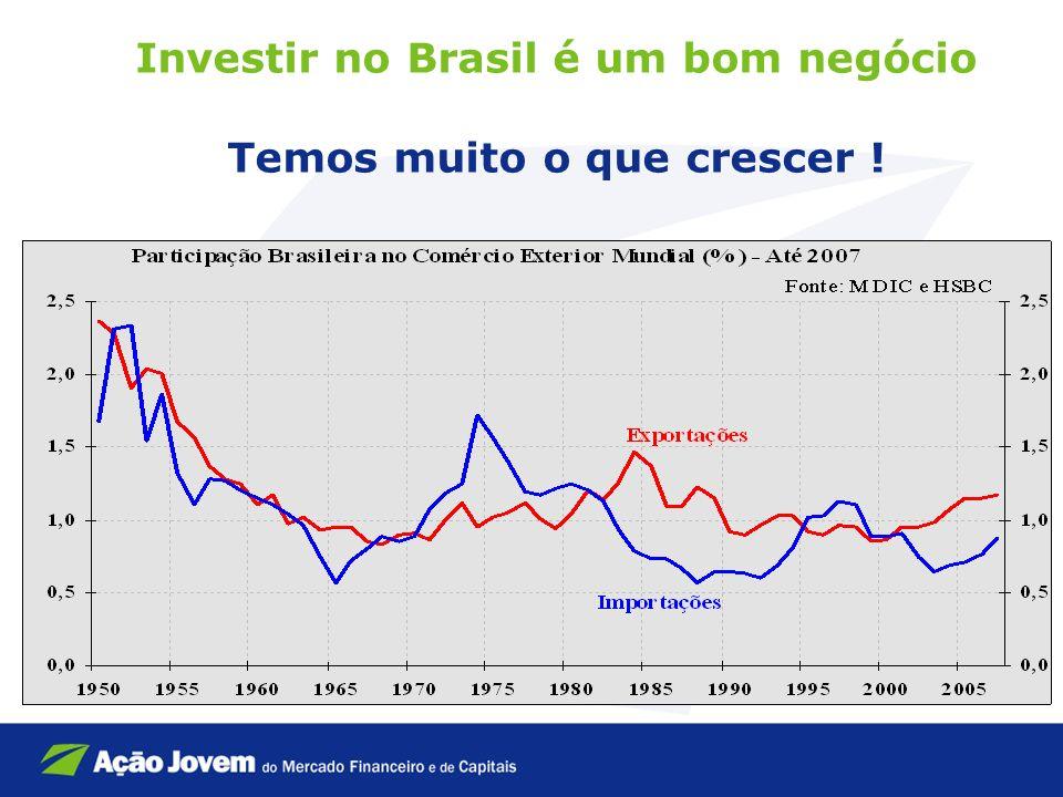 Investir no Brasil é um bom negócio Temos muito o que crescer !