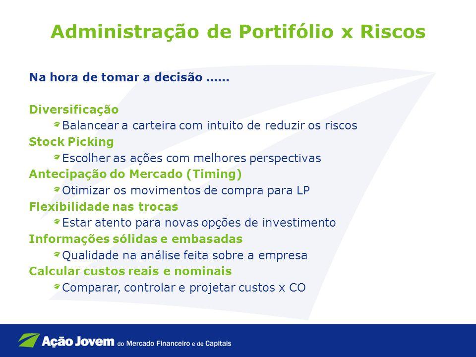 Administração de Portifólio x Riscos Na hora de tomar a decisão...... Diversificação Balancear a carteira com intuito de reduzir os riscos Stock Picki