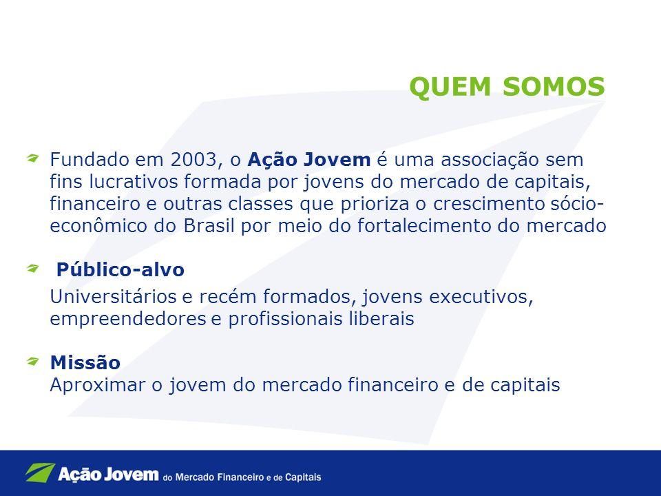 Fundado em 2003, o Ação Jovem é uma associação sem fins lucrativos formada por jovens do mercado de capitais, financeiro e outras classes que prioriza