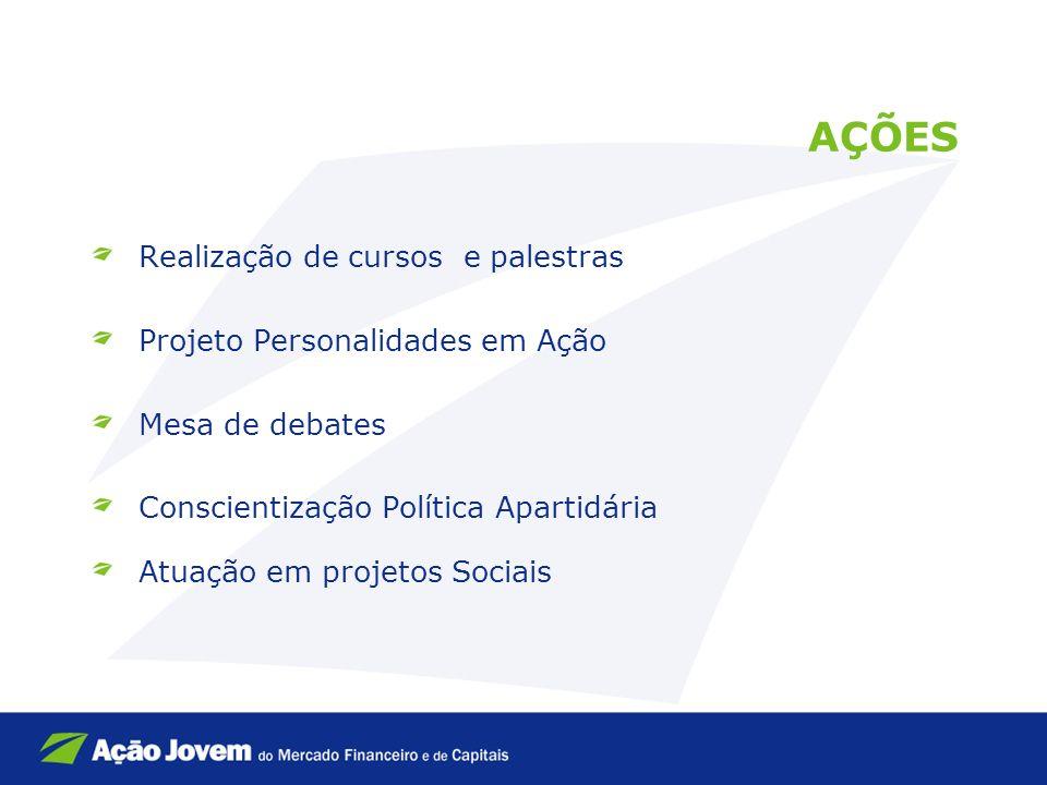 AÇÕES Realização de cursos e palestras Projeto Personalidades em Ação Mesa de debates Conscientização Política Apartidária Atuação em projetos Sociais