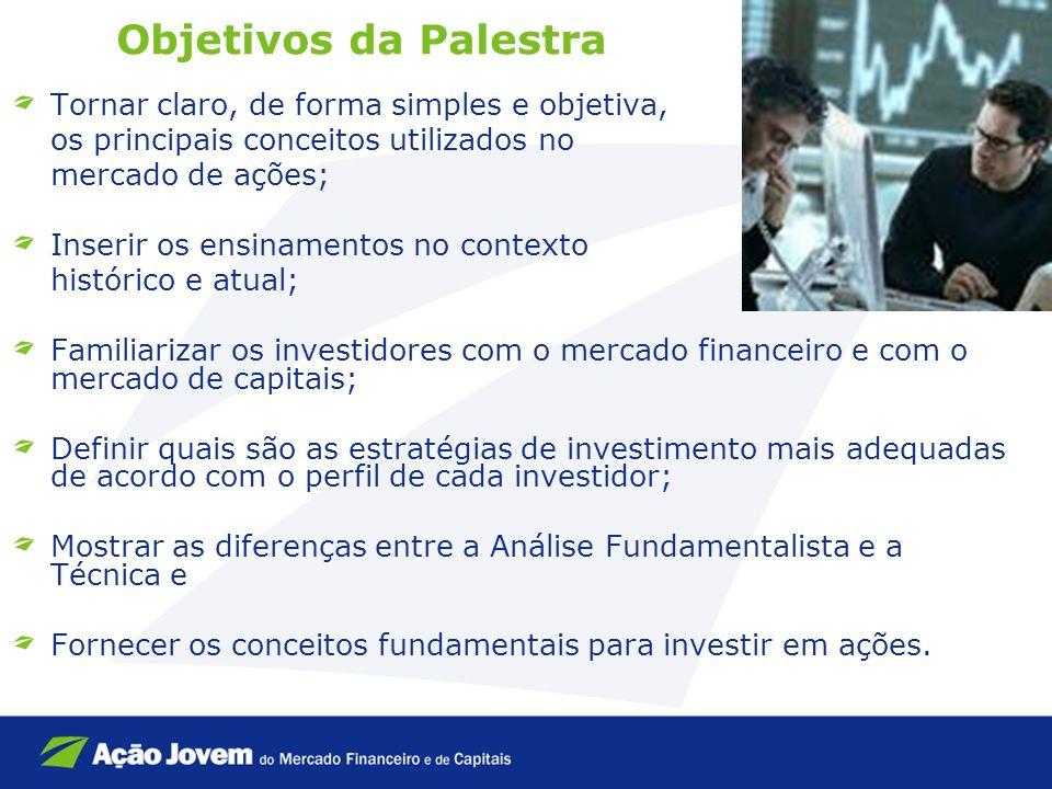 Objetivos da Palestra Tornar claro, de forma simples e objetiva, os principais conceitos utilizados no mercado de ações; Inserir os ensinamentos no co