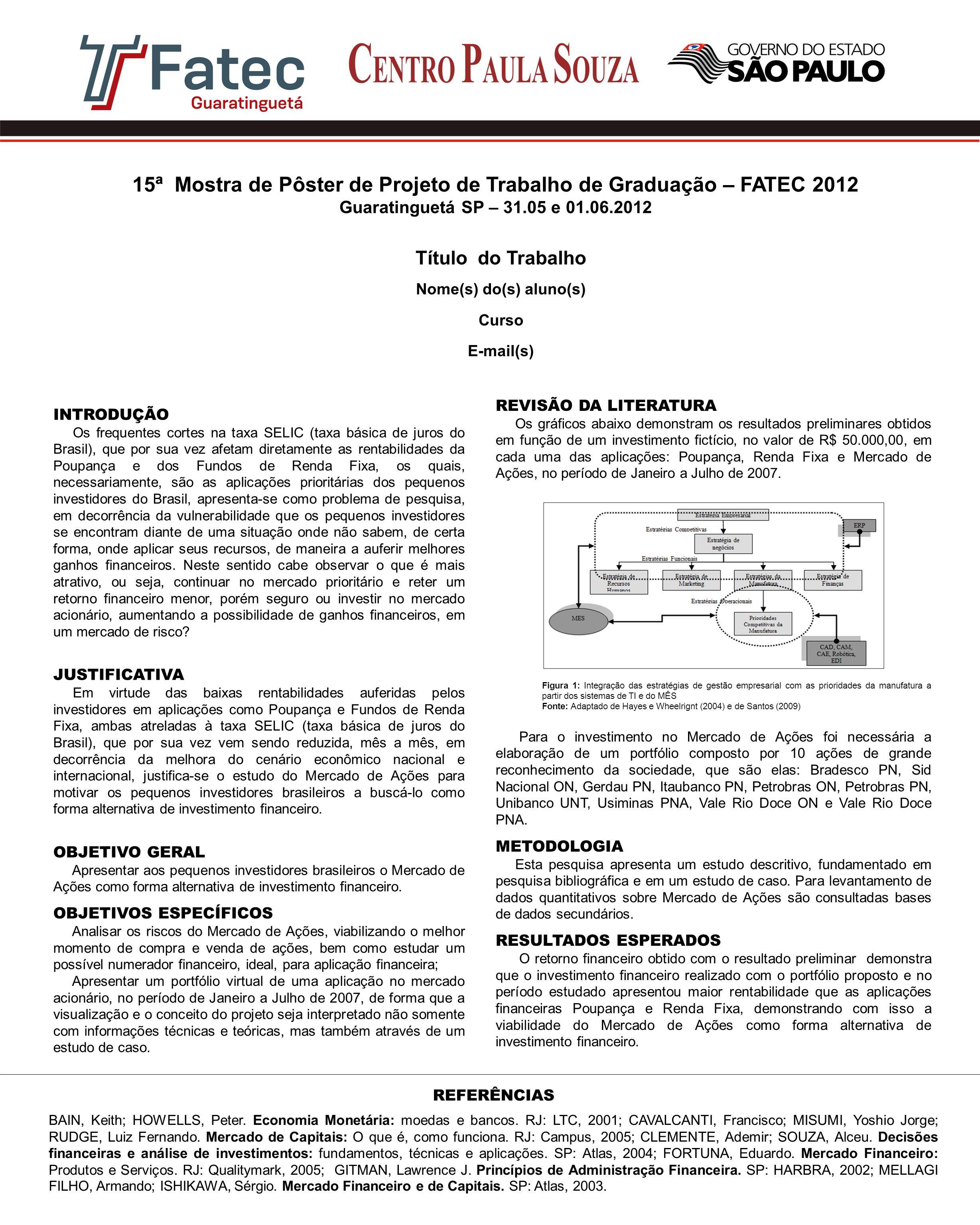 Título do Trabalho Nome(s) do(s) aluno(s) Curso E-mail(s) 15ª Mostra de Pôster de Projeto de Trabalho de Graduação – FATEC 2012 Guaratinguetá SP – 31.