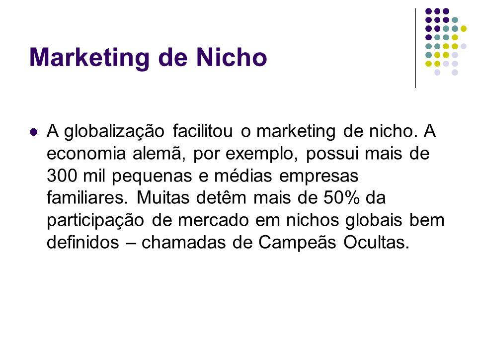 Marketing de Nicho A globalização facilitou o marketing de nicho. A economia alemã, por exemplo, possui mais de 300 mil pequenas e médias empresas fam