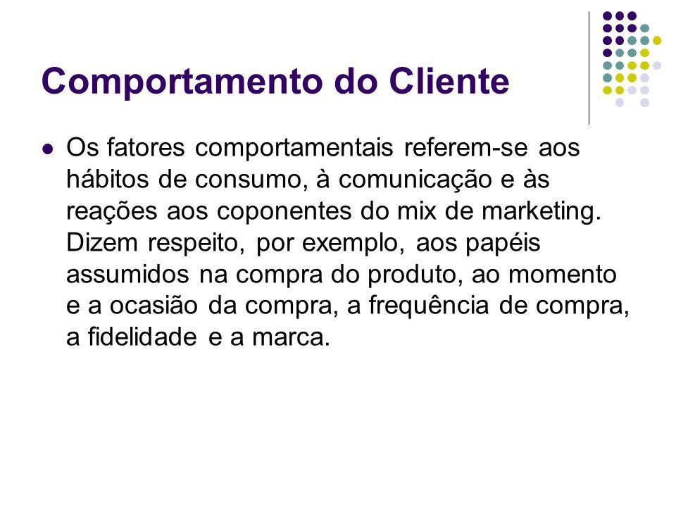 Comportamento do Cliente Os fatores comportamentais referem-se aos hábitos de consumo, à comunicação e às reações aos coponentes do mix de marketing.