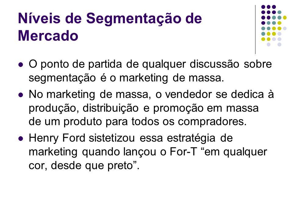 Níveis de Segmentação de Mercado O ponto de partida de qualquer discussão sobre segmentação é o marketing de massa. No marketing de massa, o vendedor