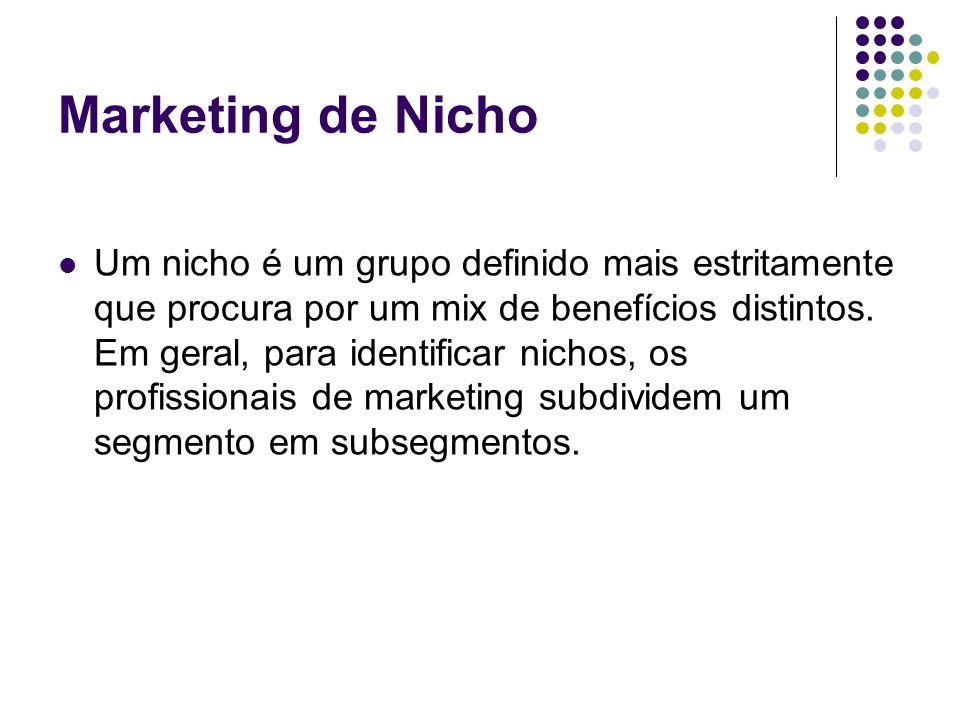 Marketing de Nicho Um nicho é um grupo definido mais estritamente que procura por um mix de benefícios distintos. Em geral, para identificar nichos, o