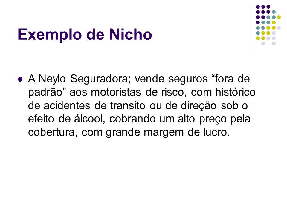 Exemplo de Nicho A Neylo Seguradora; vende seguros fora de padrão aos motoristas de risco, com histórico de acidentes de transito ou de direção sob o