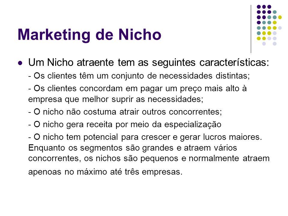 Marketing de Nicho Um Nicho atraente tem as seguintes características: - Os clientes têm um conjunto de necessidades distintas; - Os clientes concorda