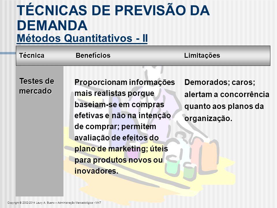 Técnica Métodos Quantitativos - II BenefíciosLimitações Testes de mercado Proporcionam informações mais realistas porque baseiam-se em compras efetiva