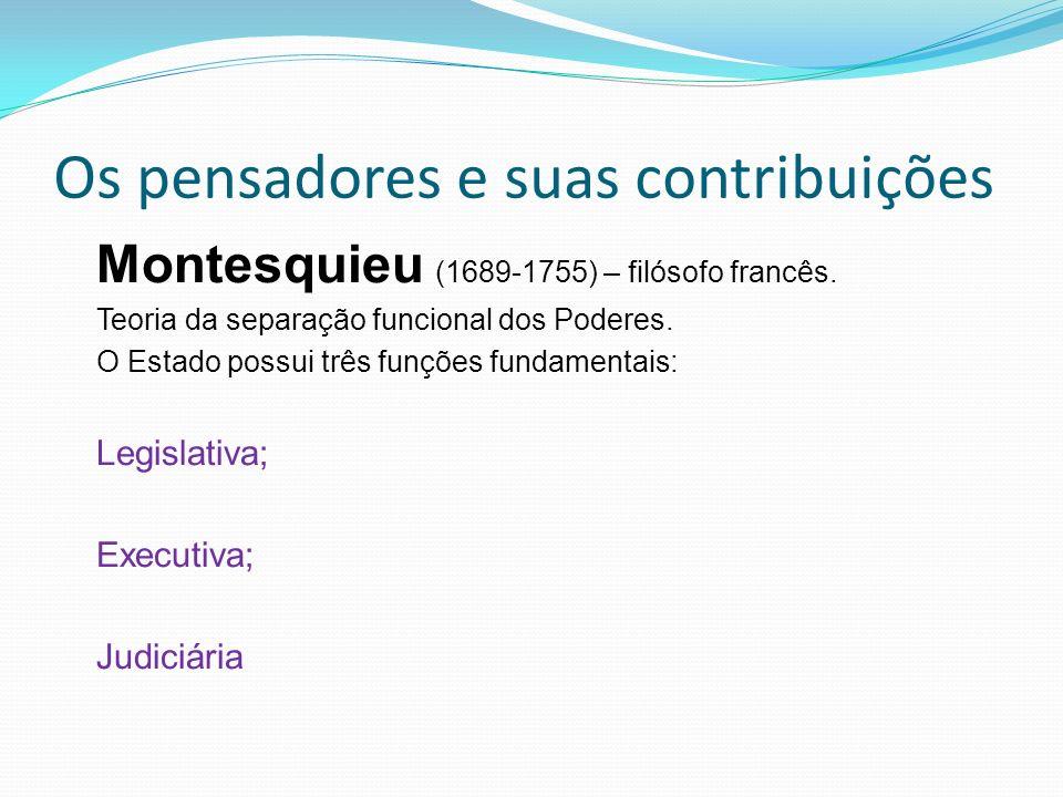 Os pensadores e suas contribuições Montesquieu (1689-1755) – filósofo francês.