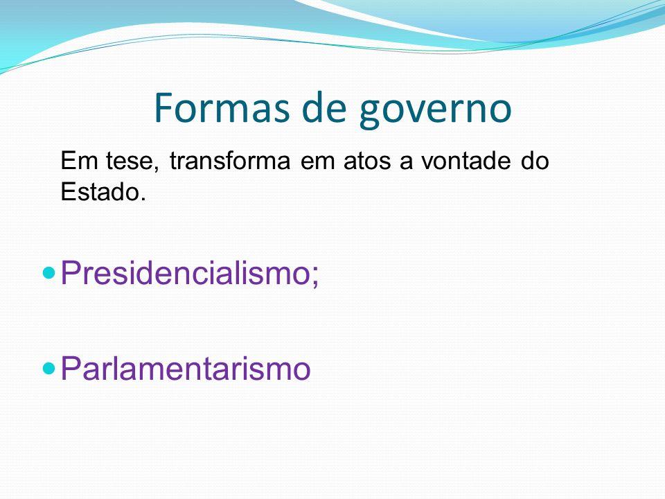 Formas de governo Em tese, transforma em atos a vontade do Estado.