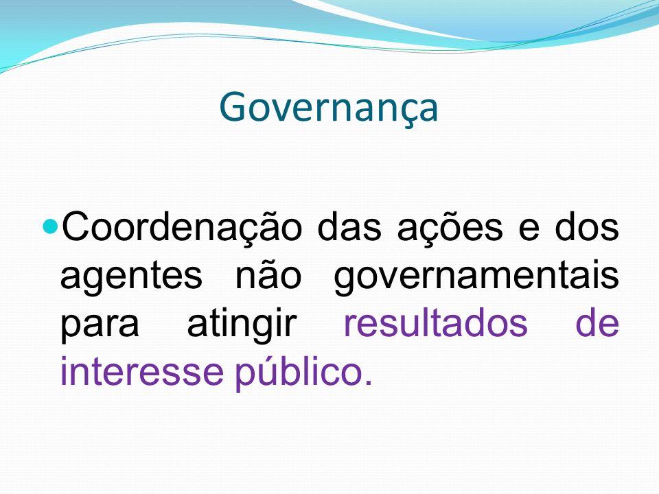 Governança Coordenação das ações e dos agentes não governamentais para atingir resultados de interesse público.