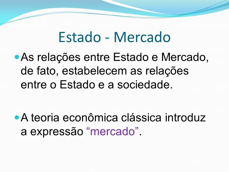 Estado - Mercado As relações entre Estado e Mercado, de fato, estabelecem as relações entre o Estado e a sociedade.