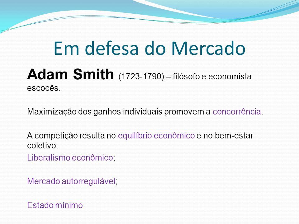 Em defesa do Mercado Adam Smith (1723-1790) – filósofo e economista escocês.