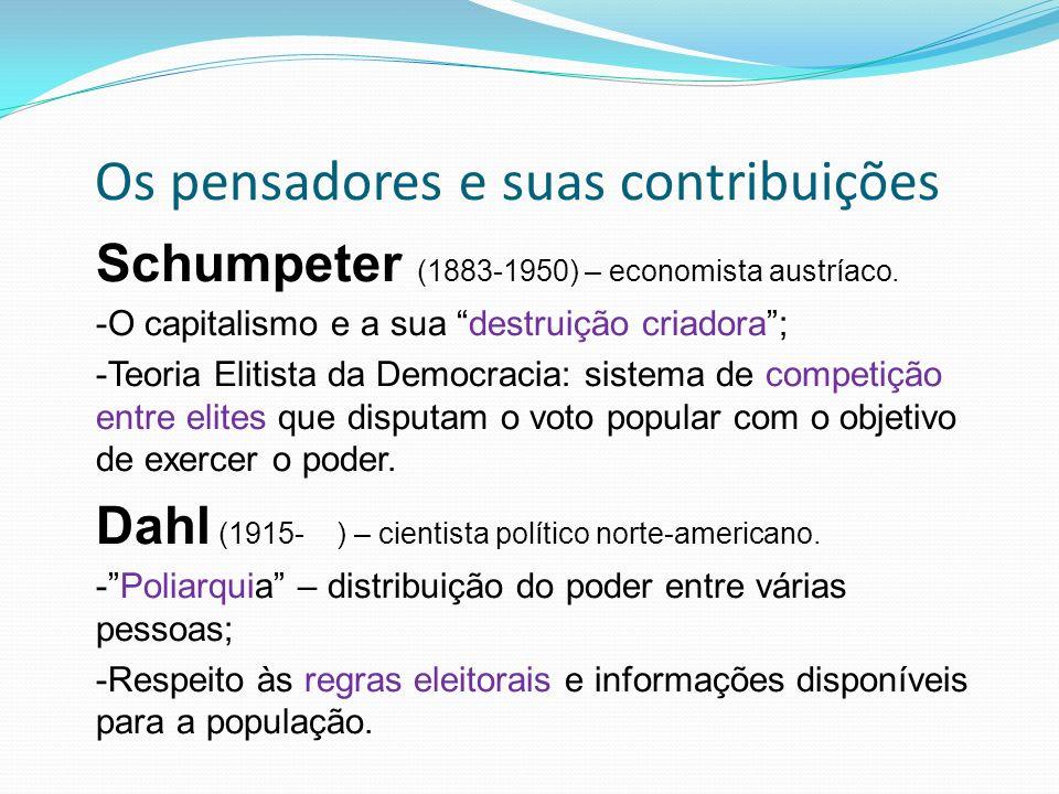 Os pensadores e suas contribuições Schumpeter (1883-1950) – economista austríaco.