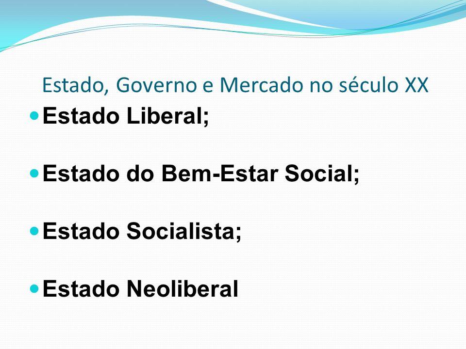Estado, Governo e Mercado no século XX Estado Liberal; Estado do Bem-Estar Social; Estado Socialista; Estado Neoliberal