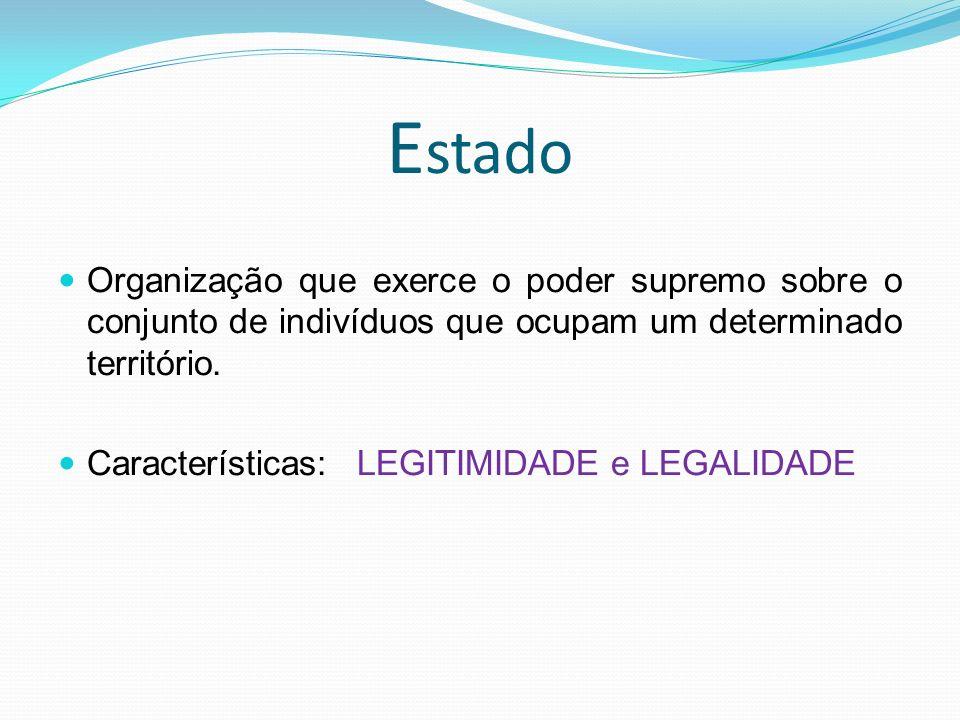 E stado Organização que exerce o poder supremo sobre o conjunto de indivíduos que ocupam um determinado território.