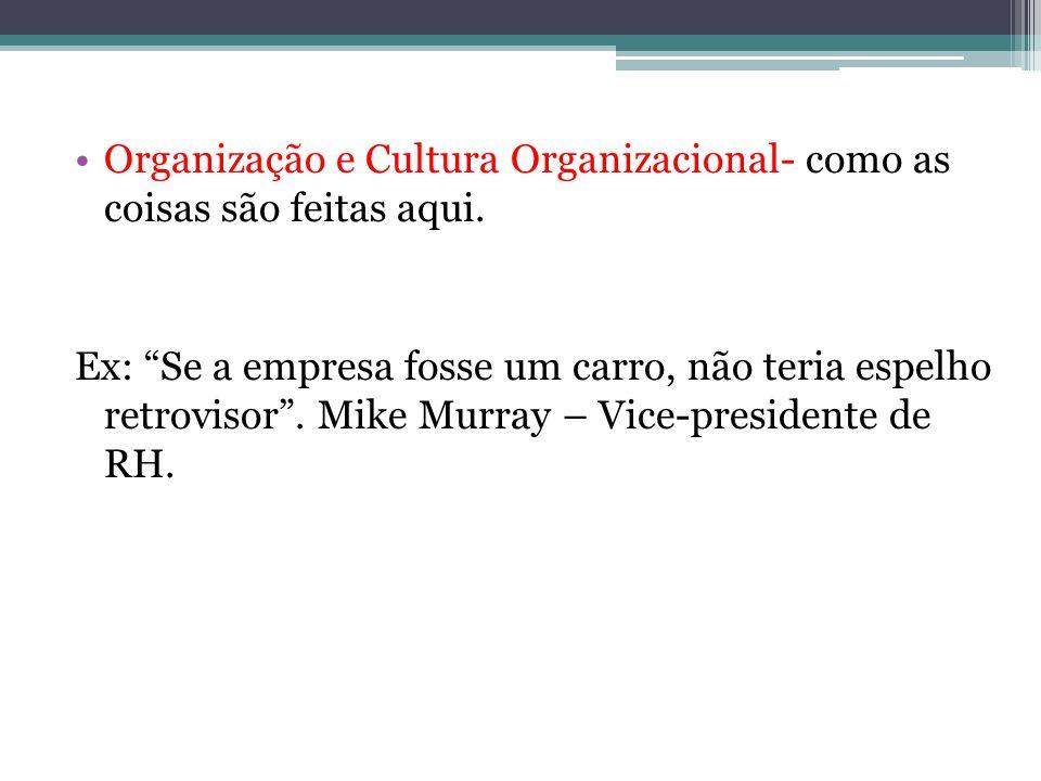 Organização e Cultura Organizacional- como as coisas são feitas aqui. Ex: Se a empresa fosse um carro, não teria espelho retrovisor. Mike Murray – Vic