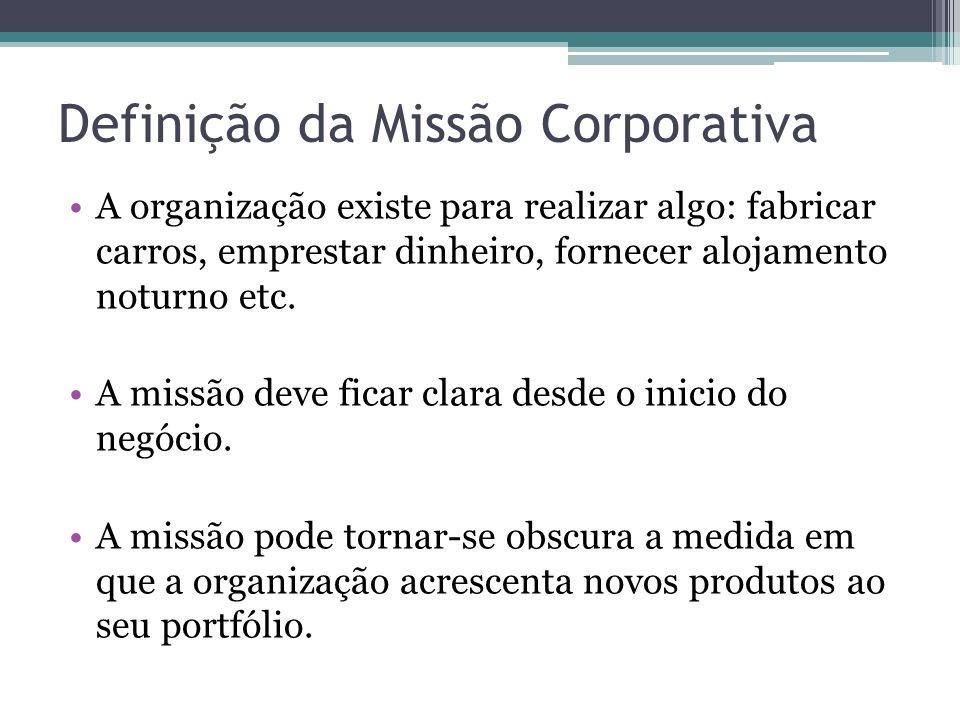 Definição da Missão Corporativa A organização existe para realizar algo: fabricar carros, emprestar dinheiro, fornecer alojamento noturno etc. A missã