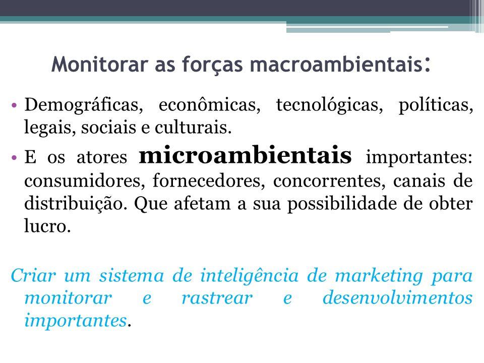 Monitorar as forças macroambientais : Demográficas, econômicas, tecnológicas, políticas, legais, sociais e culturais. E os atores microambientais impo