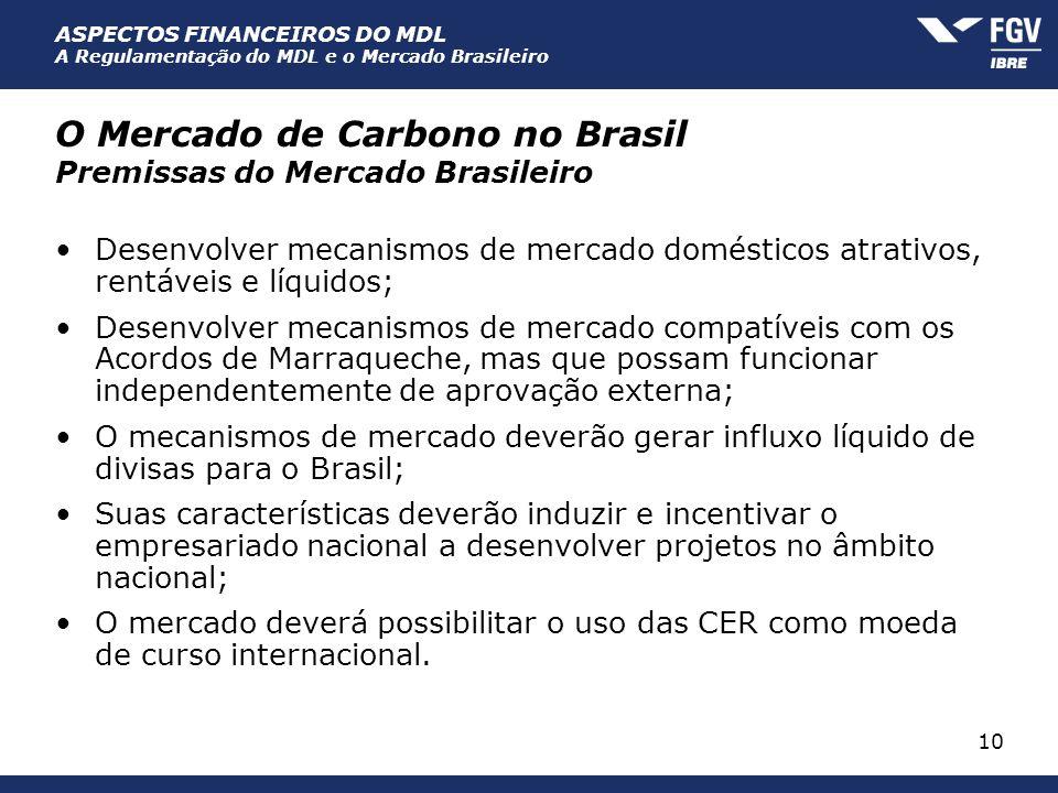 ASPECTOS FINANCEIROS DO MDL A Regulamentação do MDL e o Mercado Brasileiro 10 O Mercado de Carbono no Brasil Premissas do Mercado Brasileiro Desenvolv