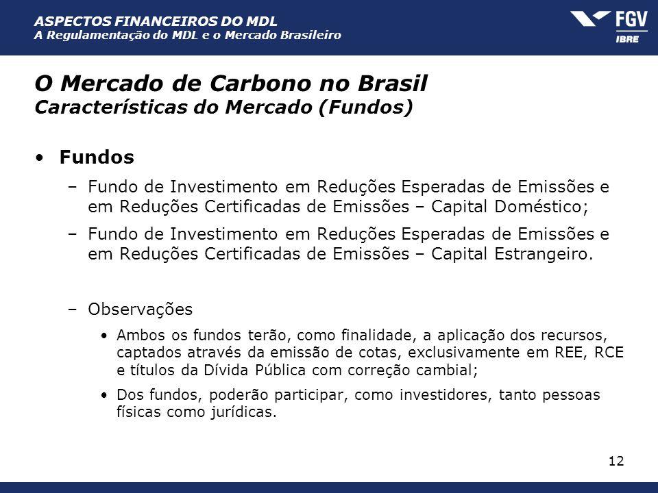 ASPECTOS FINANCEIROS DO MDL A Regulamentação do MDL e o Mercado Brasileiro 12 O Mercado de Carbono no Brasil Características do Mercado (Fundos) Fundo