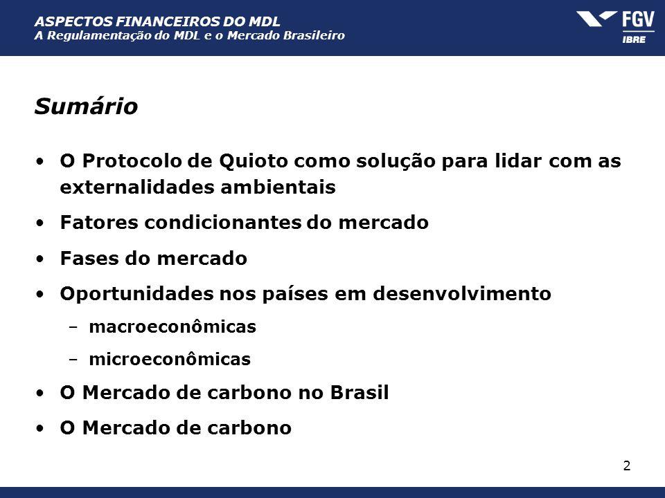 ASPECTOS FINANCEIROS DO MDL A Regulamentação do MDL e o Mercado Brasileiro 2 Sumário O Protocolo de Quioto como solução para lidar com as externalidad