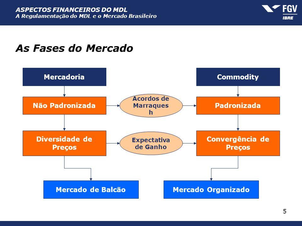 ASPECTOS FINANCEIROS DO MDL A Regulamentação do MDL e o Mercado Brasileiro 5 As Fases do Mercado MercadoriaCommodity Não Padronizada Acordos de Marraq