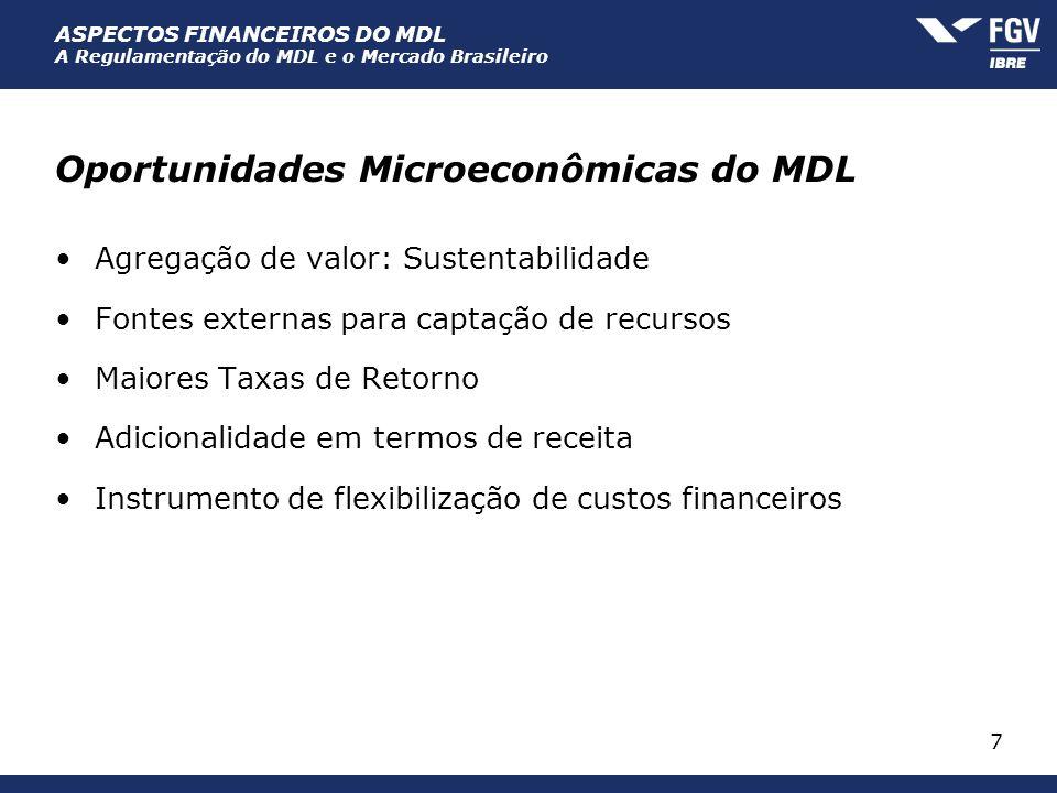 ASPECTOS FINANCEIROS DO MDL A Regulamentação do MDL e o Mercado Brasileiro 7 Oportunidades Microeconômicas do MDL Agregação de valor: Sustentabilidade
