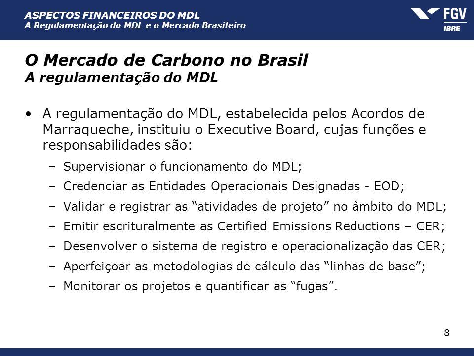 ASPECTOS FINANCEIROS DO MDL A Regulamentação do MDL e o Mercado Brasileiro 8 O Mercado de Carbono no Brasil A regulamentação do MDL A regulamentação d