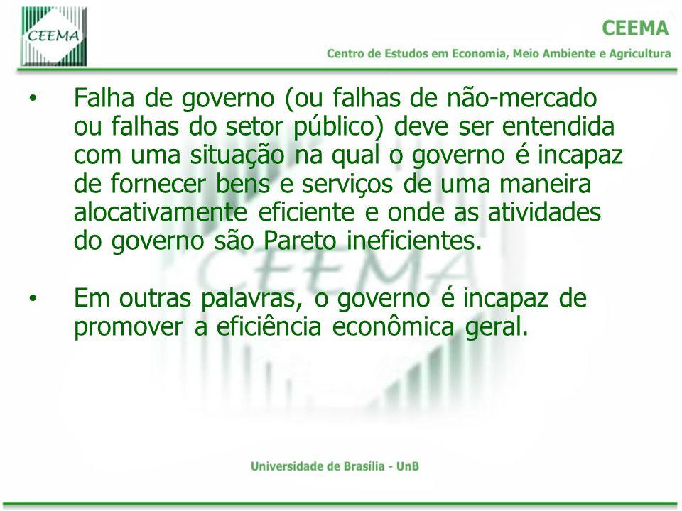 Falha de governo (ou falhas de não-mercado ou falhas do setor público) deve ser entendida com uma situação na qual o governo é incapaz de fornecer ben