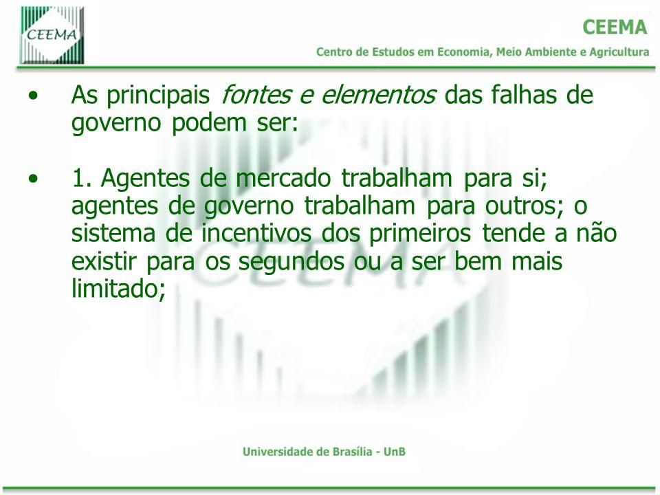 As principais fontes e elementos das falhas de governo podem ser: 1. Agentes de mercado trabalham para si; agentes de governo trabalham para outros; o
