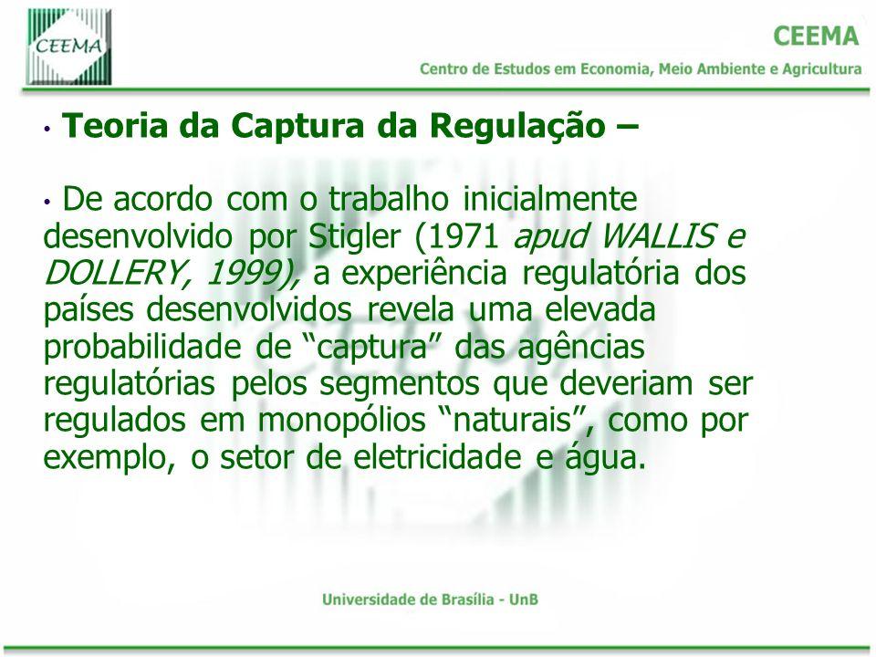 Teoria da Captura da Regulação – De acordo com o trabalho inicialmente desenvolvido por Stigler (1971 apud WALLIS e DOLLERY, 1999), a experiência regu