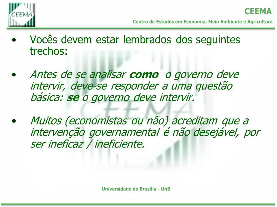 Vocês devem estar lembrados dos seguintes trechos: Antes de se analisar como o governo deve intervir, deve-se responder a uma questão básica: se o gov