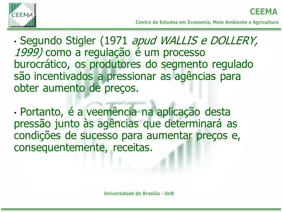 Segundo Stigler (1971 apud WALLIS e DOLLERY, 1999) como a regulação é um processo burocrático, os produtores do segmento regulado são incentivados a p