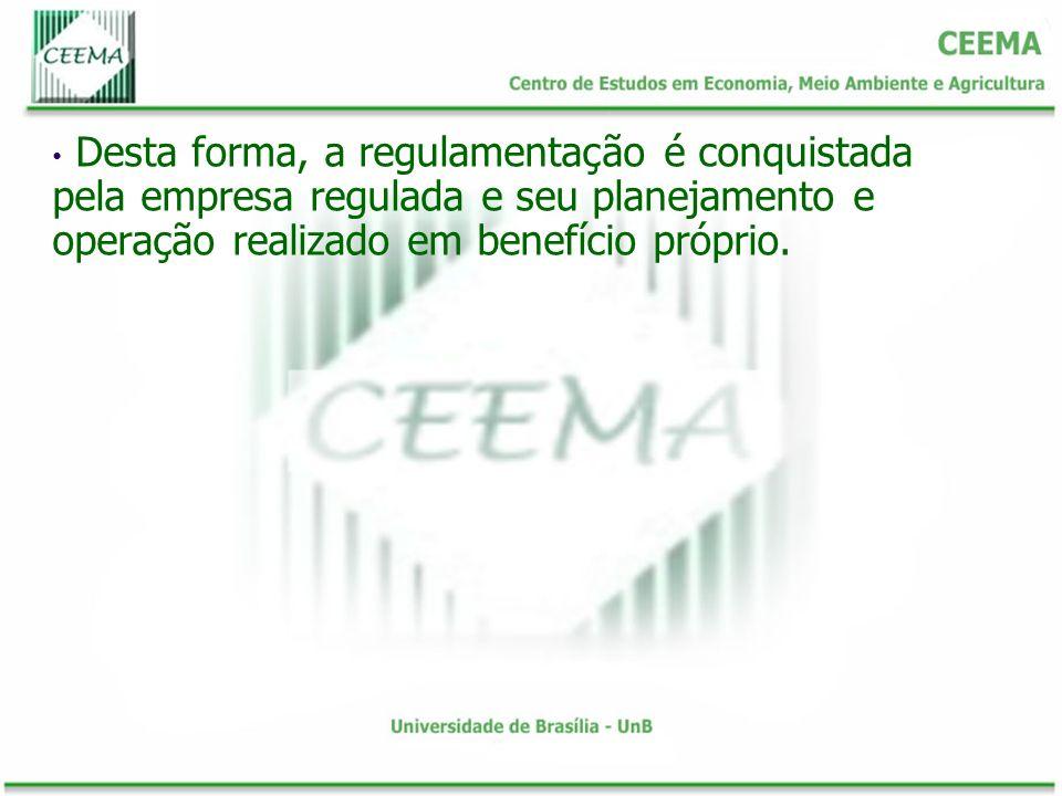 Desta forma, a regulamentação é conquistada pela empresa regulada e seu planejamento e operação realizado em benefício próprio.