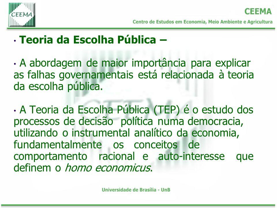 Teoria da Escolha Pública – A abordagem de maior importância para explicar as falhas governamentais está relacionada à teoria da escolha pública. A Te