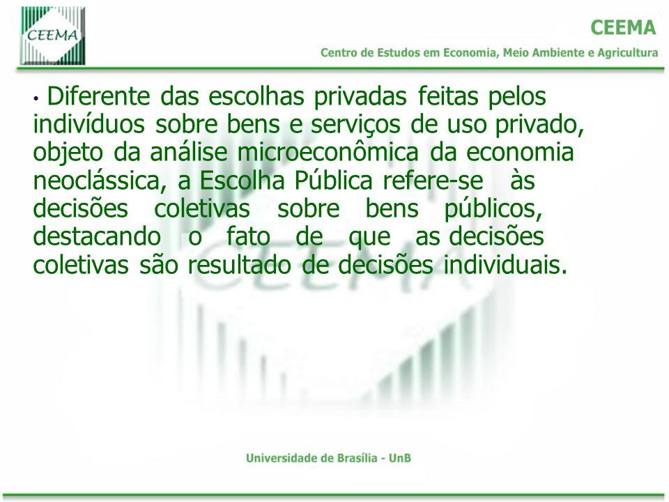 Diferente das escolhas privadas feitas pelos indivíduos sobre bens e serviços de uso privado, objeto da análise microeconômica da economia neoclássica