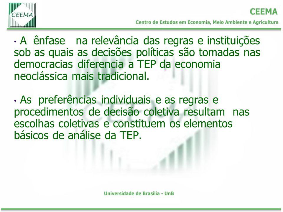 A ênfase na relevância das regras e instituições sob as quais as decisões políticas são tomadas nas democracias diferencia a TEP da economia neoclássi